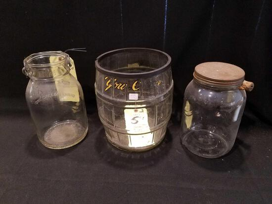Your Choice barrel and glass jars