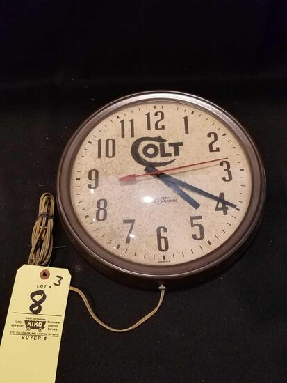 Seth Thomas clock, Colt Lettering Electric, 14in wide