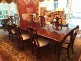 Large Stanley Furniture banquet table w/ 8 chairs