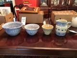Roseville Spongeware bowls, pitcher