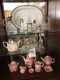 Mason's English china, large platter, glassware