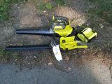 Ryobi 40V blower and hedge trimmer with battery and charger