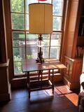 Small drop-leaf table w/ lamp