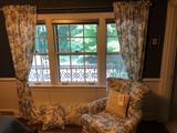 Blue willow chair, pillows, curtains, and bed skirt set