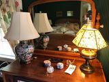 Electrified Rayo lamp, dresser items