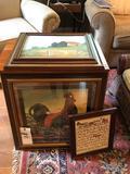 End table, framed prints
