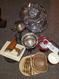 Crockpot, baskets, glassware