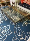 Coffee table and small stand (metal base, glass top)