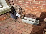 Plant stands, concrete planter, rooster