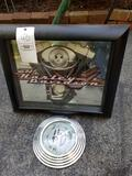 Harley Davidson clock and mirrored shadow box frame