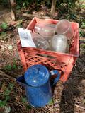 Canning jars, coffee pot, milk crate