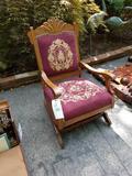 Needlepoint seat carved platform rocker