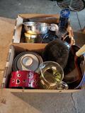 Kitchen items, pans, pitcher, cups