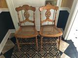 (2) cane seat chairs
