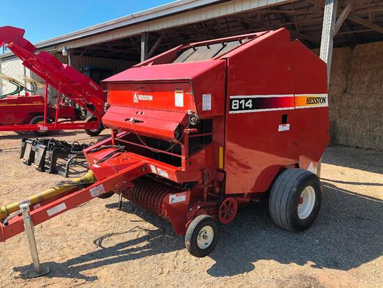 Second owner clean Hesson 814 5X6 round baler string tie with monitor
