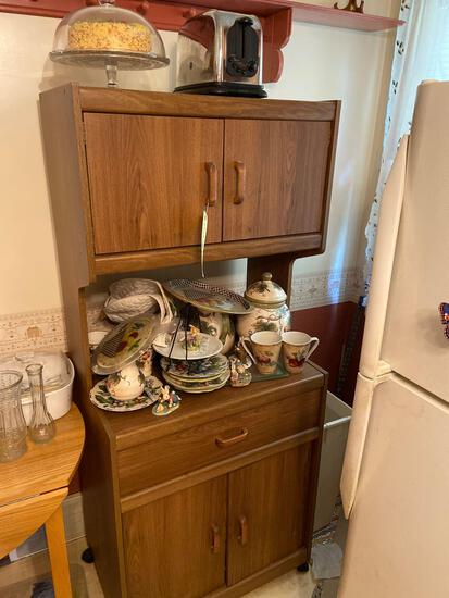 Kitchen Cabinet, Toaster, Dishes