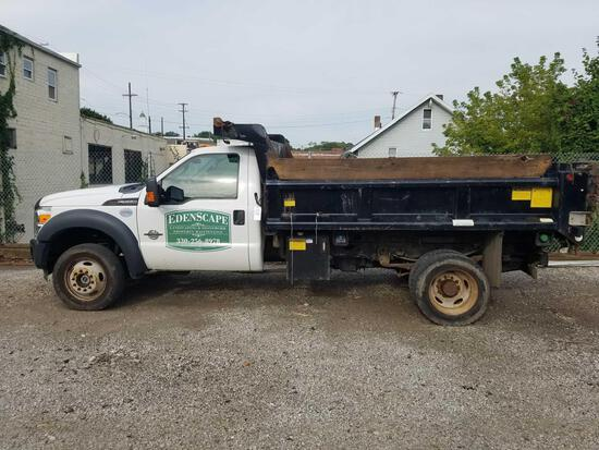 2015 Ford F550 with dump bed, 6.7L powerstroke diesel, Boss V plow with bracket, 53,635 miles