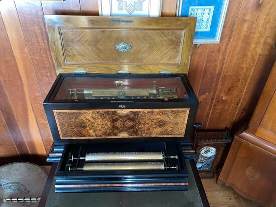 "Unmarked Swiss cylinder music box, exceptional sound, (3) 18"" cylinders, (6) Aires per cylinder"