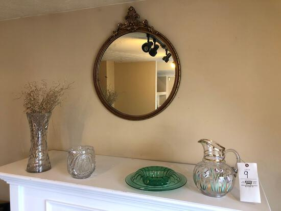 Glassware, Gold Frame Mirror