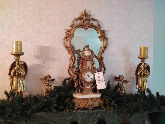 Imperial Mantle Clock, Mirror & Figerines