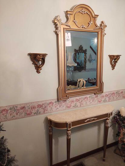 Foyer Stand w/ Mirror & Sconces