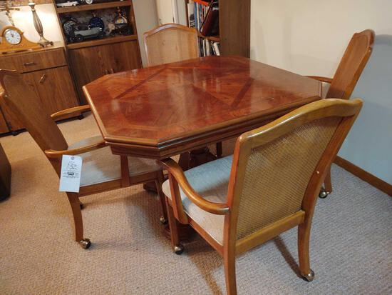 Oak Table w/ 4 Rolling Cane Back Chairs