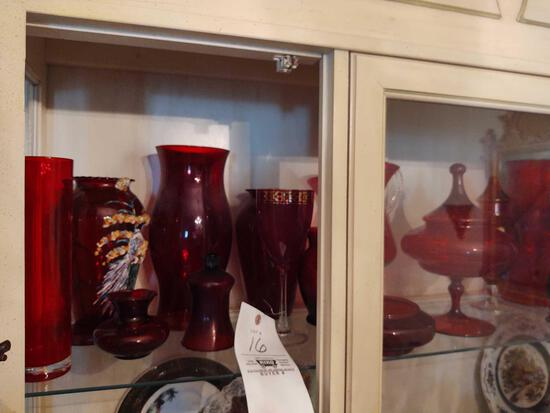 Assorted Red Glassware