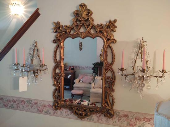 Wall Mirror & Brass Candle Sconces