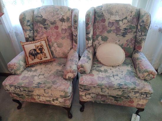 2 Padgett Floral Wing Back Chairs