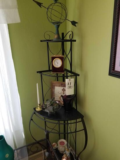 Pair of corner shelves with contents, vases, decor