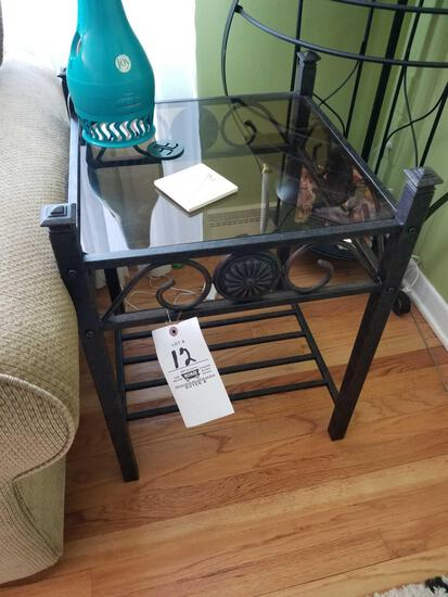 Pair of iron end stands, lamp
