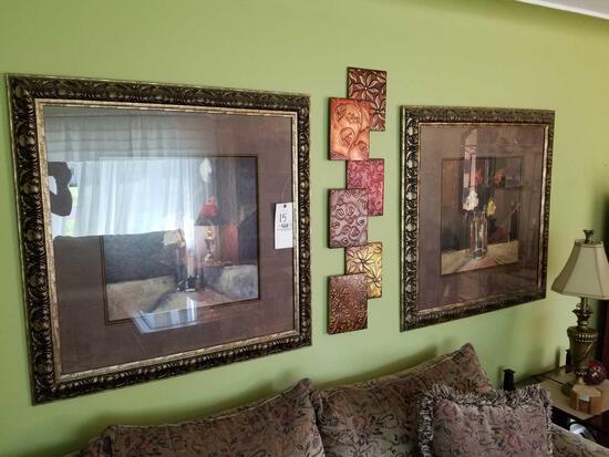 Pair of prints, wall art