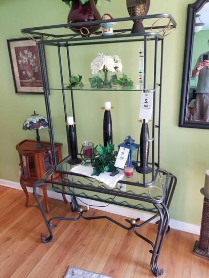 Iron rack with glass shelving