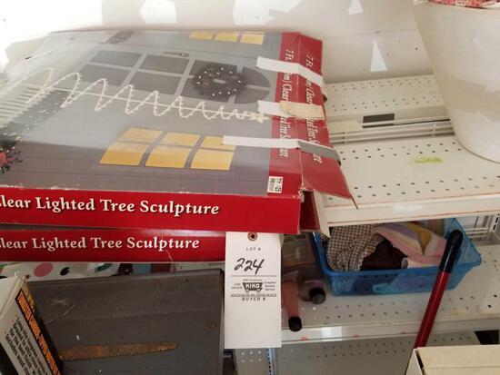 Metal shelf, Christmas trees