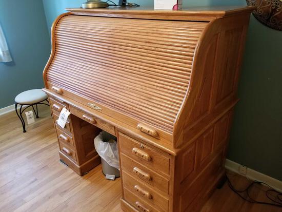 Oak roll-top desk, lamp