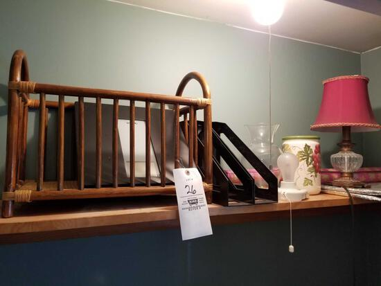 Magazine rack, lamp, misc
