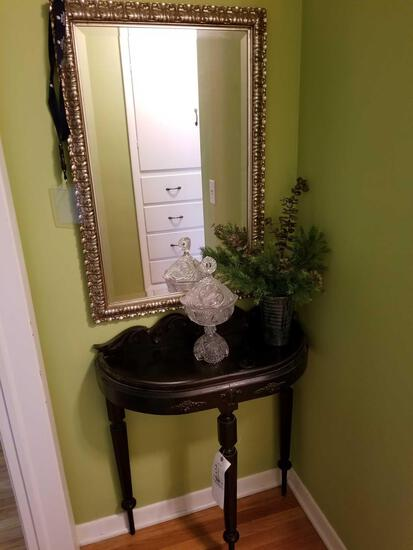 Hallway table, mirror, glass compote