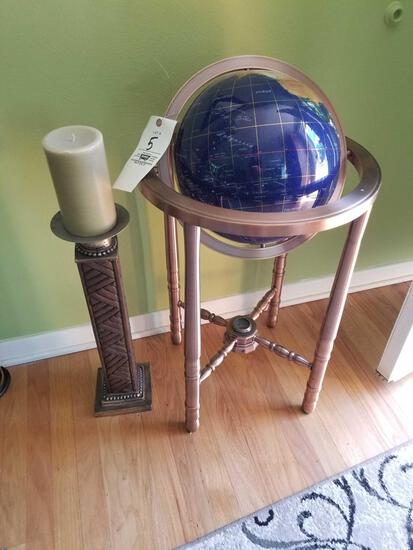 Globe on stand, candle stand
