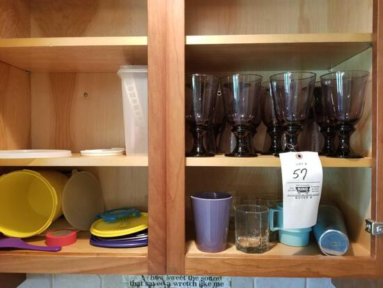 Water glasses, stemware, Tupperware