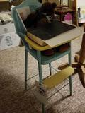 Amsco 1950s metal doll highchair, and 1940 Blue Jackets manual