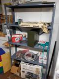 Metal shelf and contents, dart board