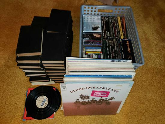 Assorted Records, 45s, Tapes, CDs, Books