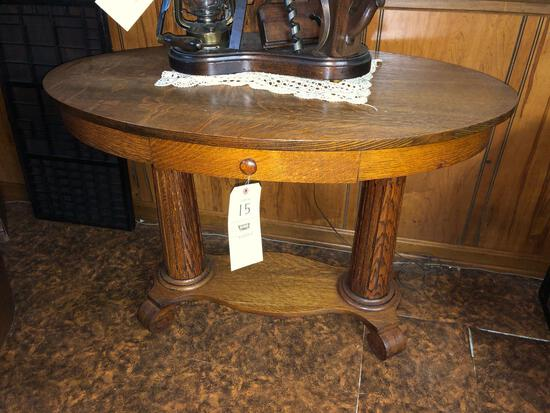 Oak Library Table with Draw