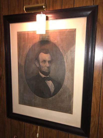 Large Abraham Lincoln Framed Print - Lighted - 35in W x 43in T
