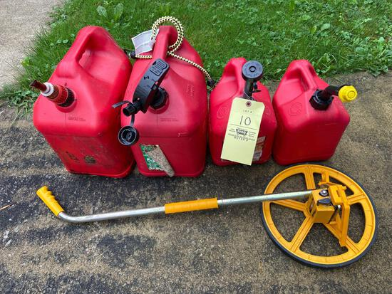 4 Gas Cans and Measure Meter