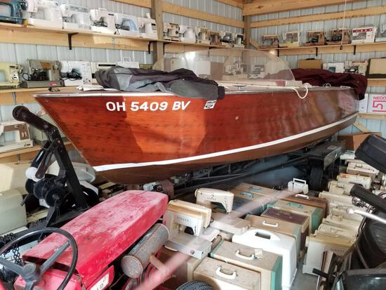1960 Chris Craft boat, 17 ft., 283HP, V-8, with trailer, wood has been restored