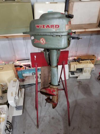 Wizard super 5 boat motor and stand