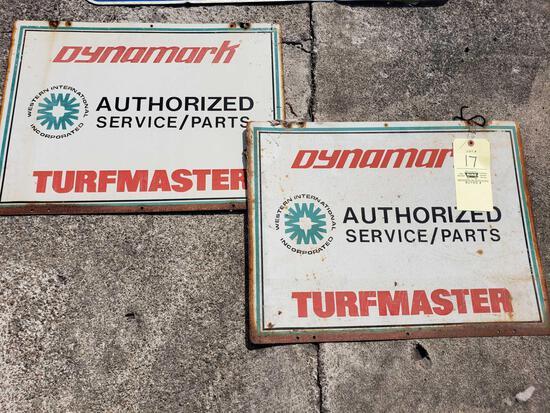 (2) Dynamark Turfmaster Tin Signs