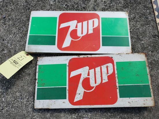 (2) 7 Up Tin Signs