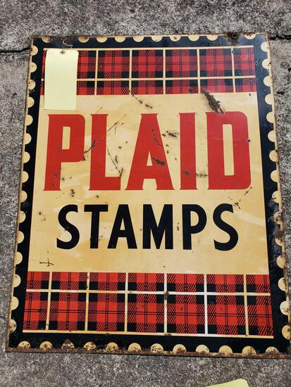 Double Sided Plaid Stamps Tin Sign